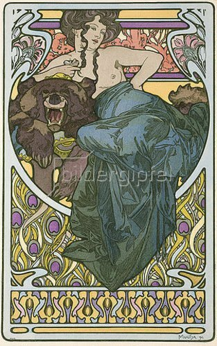 Alfons Mucha: Tafel 47 aus dem Buch 'Documents Decoratifs'. 1902