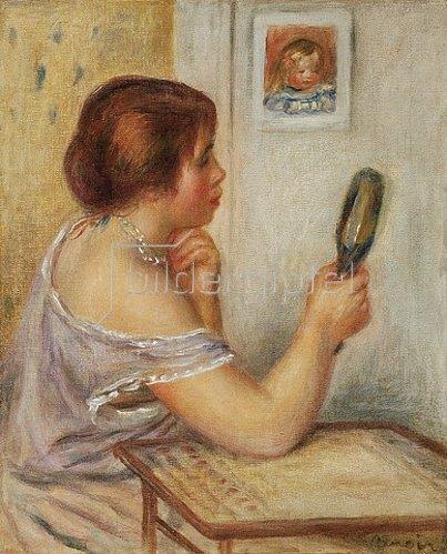 Auguste Renoir: Gabrielle einen Spiegel haltend oder Marie Dupuis einen Spiegel haltend mit einem Porträt von Coco.