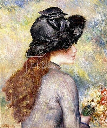 Auguste Renoir: Junges Mädchen mit einem Tulpenstrauß (Jeune Fille au Bouquet de Tulipes). Um 1878