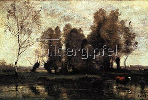 Jean-Baptiste Camille Corot: Baumgruppe an einem Fluss-Ufer. 1855/1860.