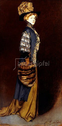 Antonio de la Gandara: Elegante Dame mit einem Pelzmuff.