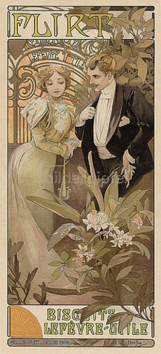 Alfons Mucha: Flirt - Biscuits Lefèvre-Utile. Um 1895