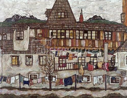 Egon Schiele: Häuser mit trocknender Wäsche. 1917.