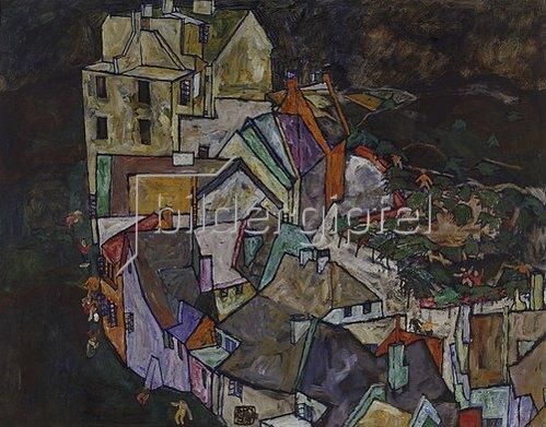 Egon Schiele: Stadtende III. 1917/1918. (Häuserbogen, Krumau).