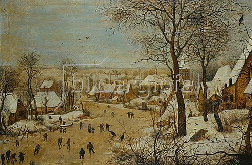 Pieter Brueghel d.Ä.: Winterlandschaft mit Eisläufern.