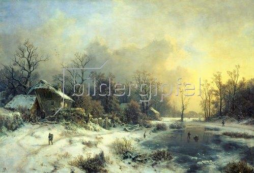 August Piepenhagen: Winterlandschaft mit gefrorenem Teich. Um 1850.