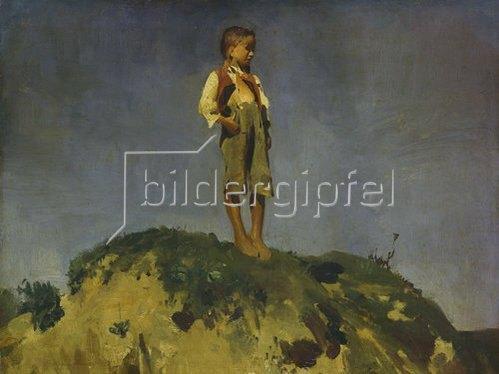 Franz von Lenbach: Hirtenbub auf einem Grashügel.