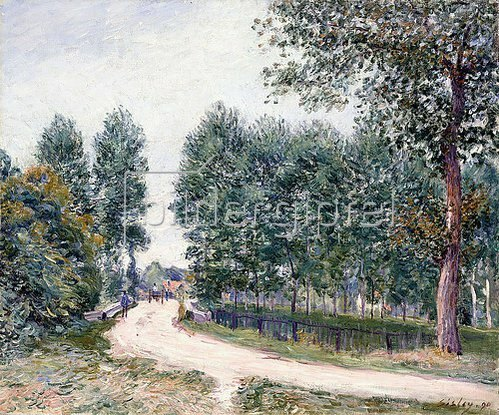 Alfred Sisley: Die Straße nach Saint-Mammes - Am Morgen (Le Chemin de Saint-Mammes - Le matin). 1890
