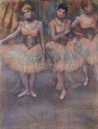 Edgar Degas: Drei Tänzerinnen vor dem Exercice (Trois Danseuses avant l'Exercice). Um 1880