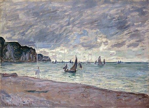 Claude Monet: Fischerboote vor der Küste und den Felsen von Pourville (Barques de Pêche devant la Plage et les Falaises de Pourville). 1882