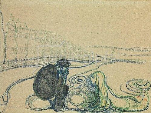 Edvard Munch: Wehmütiger Mann und Meerjungfau (Begegnung am Strand). Um 1896-1902