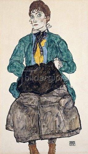 Egon Schiele: Frau in grüner Bluse mit Muff. 1915
