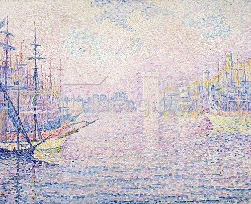 Paul Signac: Der Hafen von Marseille bei Morgenneben (Le port de Marseille, Brume Matinale). 1906