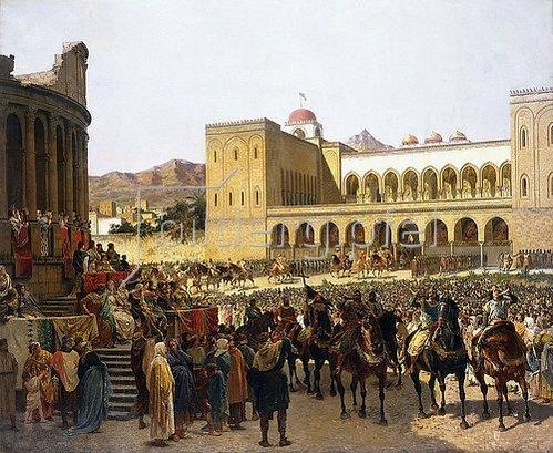 Giuseppe Sciuti: Der Austritt Rogers I, Herrscher von Sizilien, aus dem Palazzo Reale.