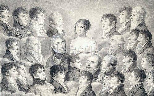 Französisch: Porträt einer jungen Dame umgeben von ihren Bewunderern.