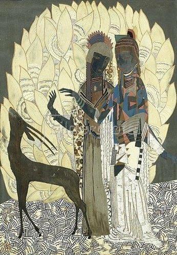 Jean Dunand: Zwei stilisierte Frauen mit einer Antilope und Blattwerk. Ca. 1928.
