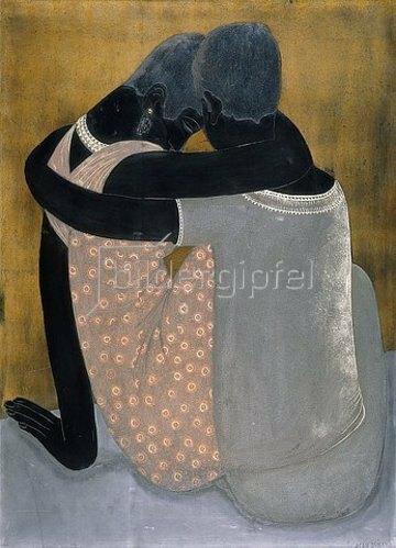 Jean Dunand: Zwei sitzende Frauen, sich umarmend und mit geneigten Köpfen.
