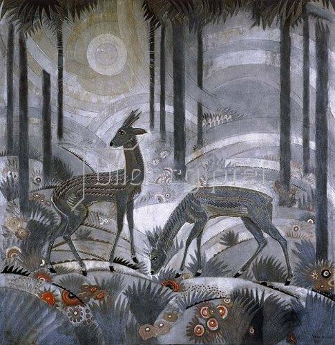 Jean Dunand: Zwei Rehe im Wald. Ca. 1929.