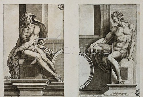 Cherubino Alberti: Ignudo (nach Michelangelo's dem Deckenfresko in der Sixtina).