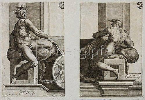 Cherubino Alberti: Ignudo (nach Michelangelo's Deckenfresko in der Sixtina). 1649