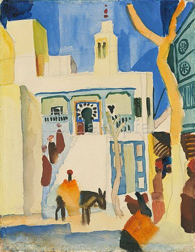 August Macke: Blick auf eine Moschee.