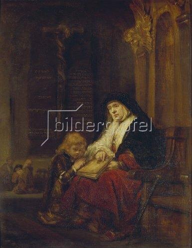 Rembrandt van Rijn: Die Prophetin Hannah im Tempel, Samuels Gebet abhörend. 16(50).