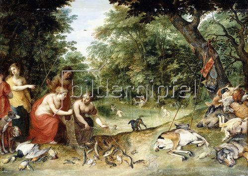 Jan Brueghel d.Ä.: Allegorie der Elemente: Erde, Luft und Wasser. Badende Nymphen in einer Waldlichtung mit ihrer Beute. Um 1621