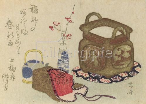 Shinsai Ryuryukyo: Stillleben mit Requisiten für die Teezubereitung,