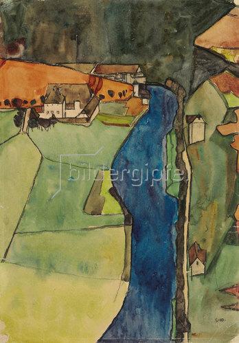 Egon Schiele: Stadt am blauen Fluss (Krumau). 1910