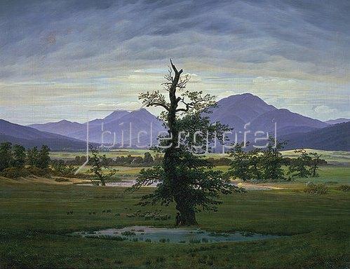 Caspar David Friedrich: Der einsame Baum (Dorflandschaft bei Morgenbeleuchtung) (Pendant zu Bildnummer 1433). 1823.