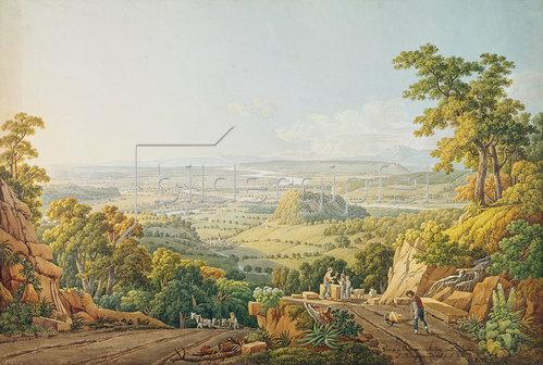 Peter Birmann: Blick vom Muttenzer Steinbruch auf Basel