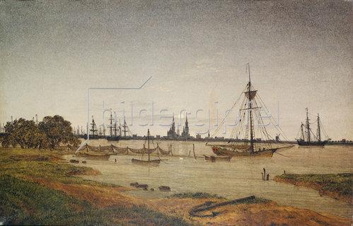 Caspar David Friedrich: Hafen bei Mondschein. 1811