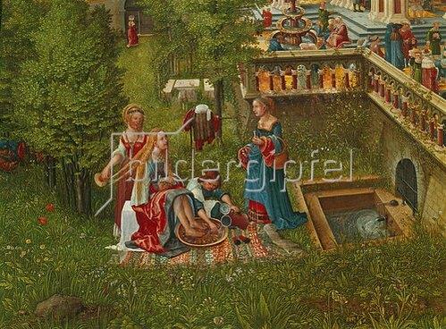 Albrecht Altdorfer: Susanna im Bade und die Steinigung der Alten. Detail: Badeszene am Brunnen.