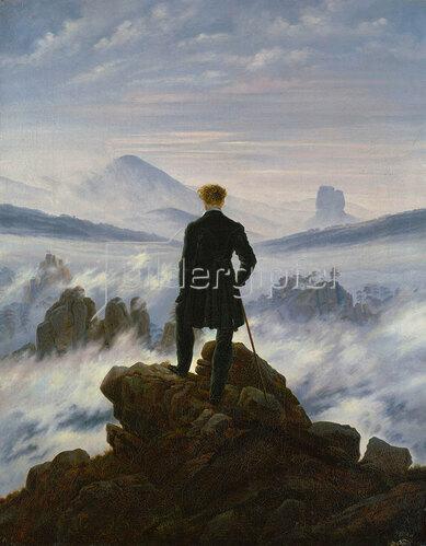 Caspar David Friedrich: Der Wanderer über dem Nebelmeer. Um 1818