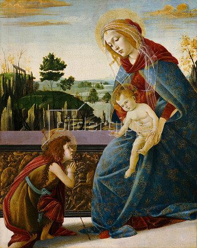 Sandro Botticelli: Madonna und Kind mit Johannes dem Täufer in einer Landschaft.