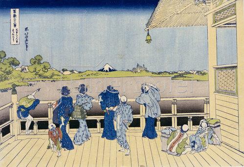 Katsushika Hokusai: Die Sazai Halle des Fünf-Hundert-Rakanji Tempel.