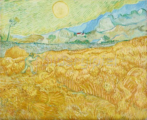 Vincent van Gogh: Die Ernte, Kornfeld mit Schnitter (La moisson). 1889