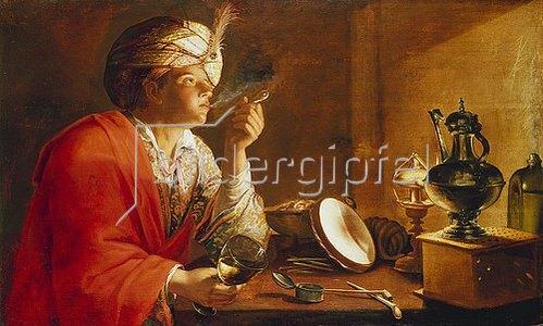 Französischer Maler: Pfeiferauchender junger Mann.