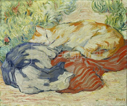 Franz Marc: Katzen auf rotem Tuch. 1909/1910.