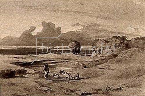 Arnold Böcklin: Entwurf zum Gemälde Landschaft bei Sonnenuntergang.