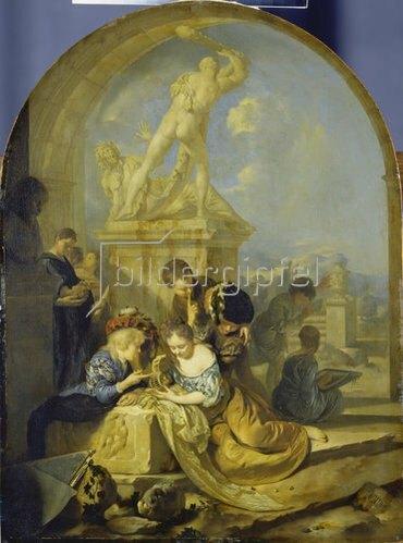 Adriaen van der Werff: Spielende Kinder vor einer Herkulesgruppe. 1687.