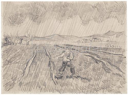 Vincent van Gogh: La pluie. Sämann im Regen. 1890