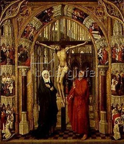 Rogier van der Weyden: Der Gekreuzigte in einem Kirchenportal, umgeben von Szenen aus dem Leben Jesu.