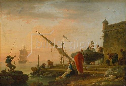 Claude Joseph Vernet: Orientalischer Seehafen bei Sonnenaufgang. 1755.