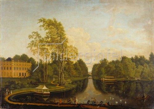 Ferdinand Kobell: Ehemaliger oberer See mit Schloß Schönbusch (Aschaffenburg) und Kanal. Um1785.