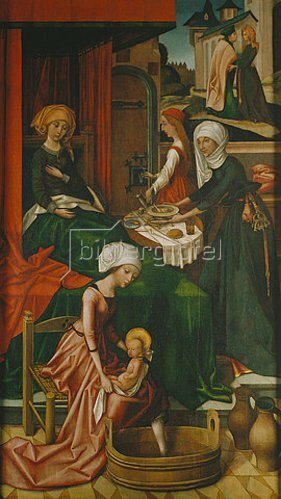 Hans Holbein d.Ä.: Mariae Geburt. Weingartner Altar im Dom zu Augsburg.