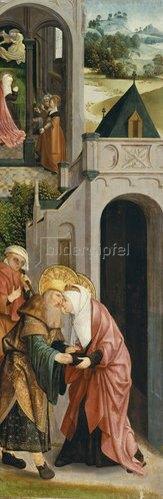 Meister von Alkmaar: Flügel eines Triptychons mit Darstellung der Legende der hll.Joachim und Anna.