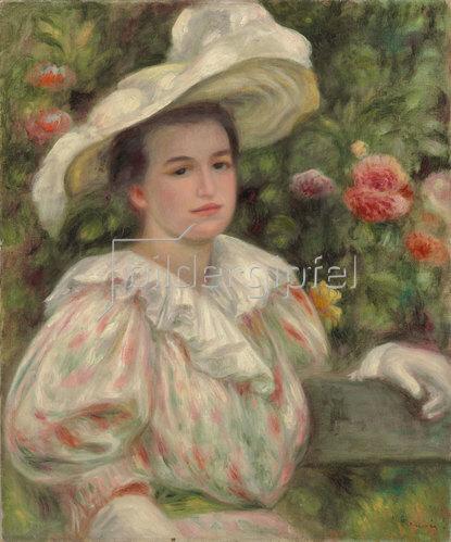Auguste Renoir: Junges Mädchen vor Blumen oder Frau mit weißem Hut. Um 1895