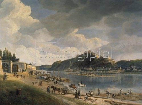 Johann Adolf Lasinsky: Blick auf das Rheinufer mit Ehrenbreitstein. 1828.