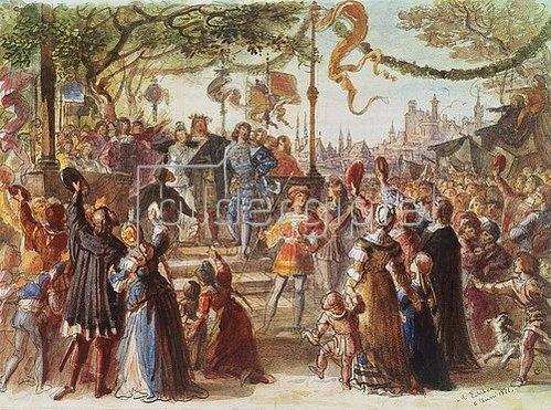 Michael Echter: Aufführungsbild von R. Wagners Meistersinger: Festwiese. München 1868